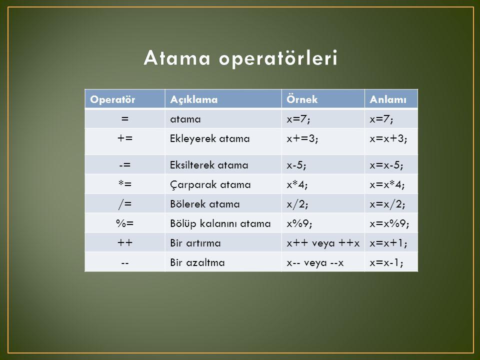 Atama operatörleri Operatör Açıklama Örnek Anlamı = atama x=7; +=