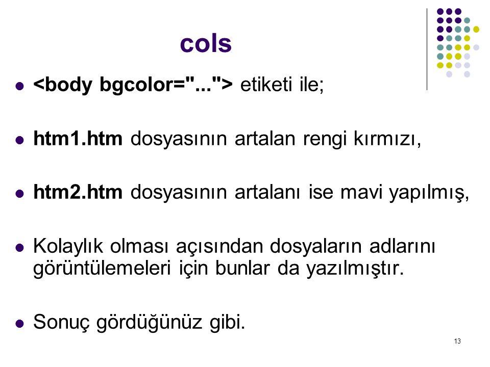 cols <body bgcolor= ... > etiketi ile;