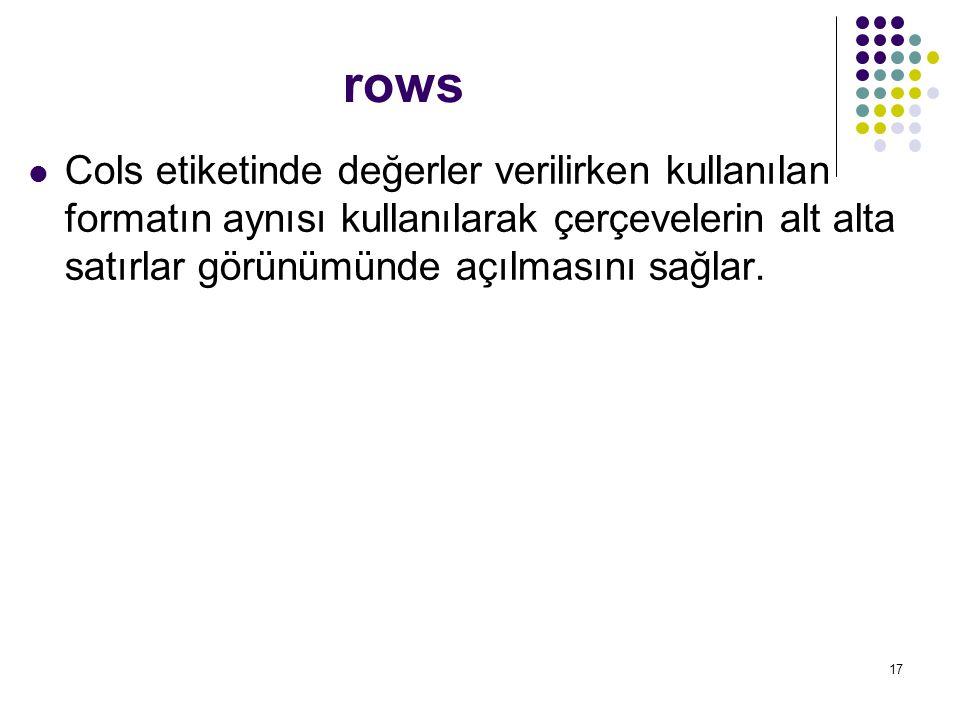 rows Cols etiketinde değerler verilirken kullanılan formatın aynısı kullanılarak çerçevelerin alt alta satırlar görünümünde açılmasını sağlar.