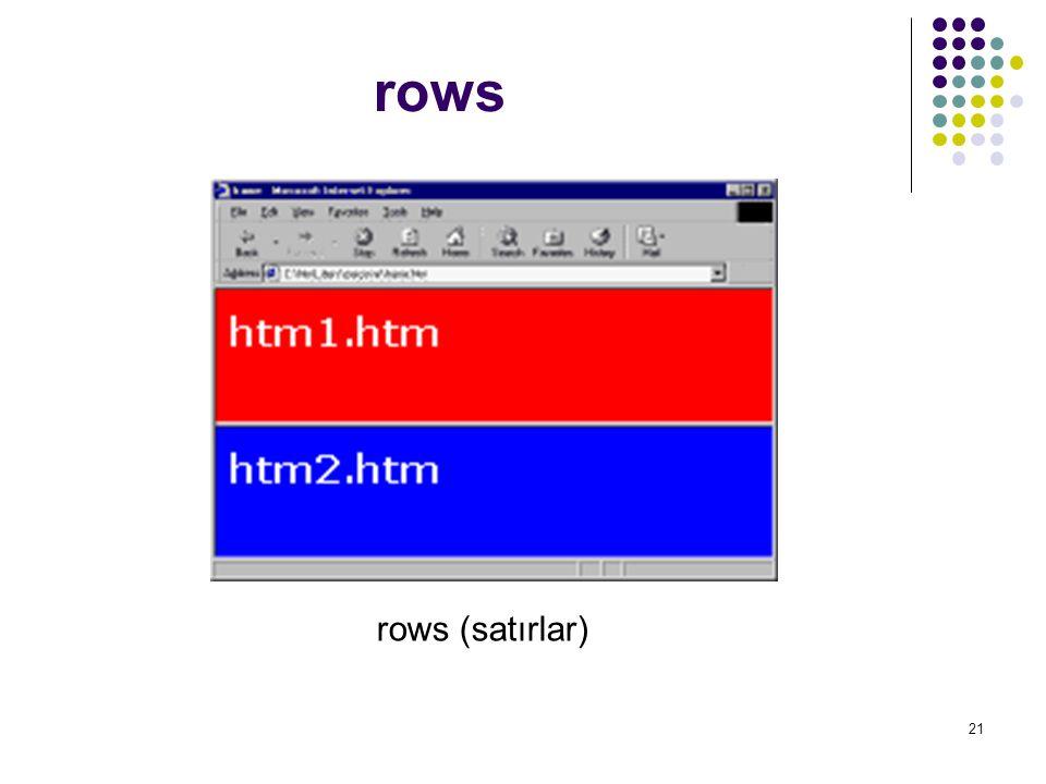 rows rows (satırlar)