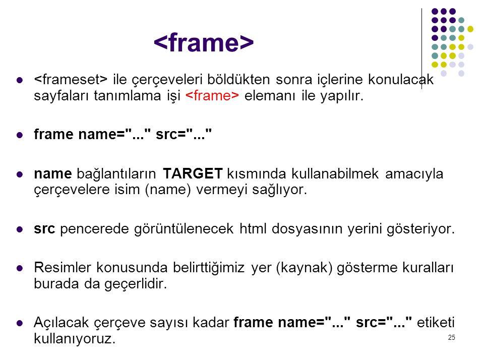 <frame> <frameset> ile çerçeveleri böldükten sonra içlerine konulacak sayfaları tanımlama işi <frame> elemanı ile yapılır.