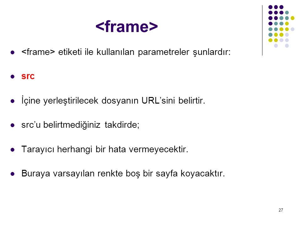 <frame> <frame> etiketi ile kullanılan parametreler şunlardır: src. İçine yerleştirilecek dosyanın URL'sini belirtir.