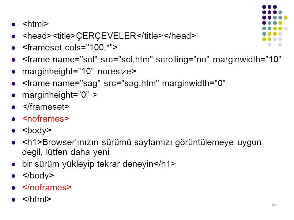 <html> <head><title>ÇERÇEVELER</title></head> <frameset cols= 100,* > <frame name= sol src= sol.htm scrolling= no marginwidth= 10