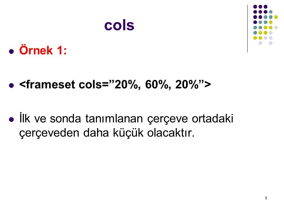 cols Örnek 1: <frameset cols= 20%, 60%, 20% >