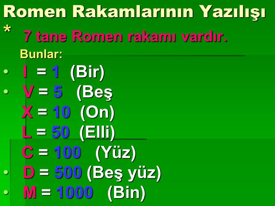 Romen Rakamlarının Yazılışı