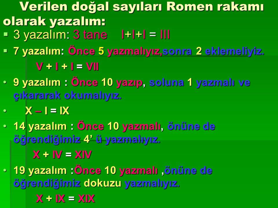 Verilen doğal sayıları Romen rakamı olarak yazalım:
