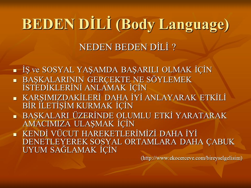 BEDEN DİLİ (Body Language)