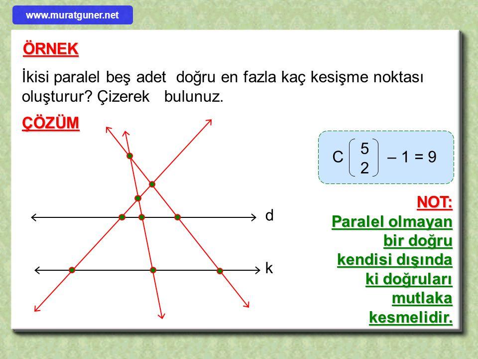 www.muratguner.net ÖRNEK. İkisi paralel beş adet doğru en fazla kaç kesişme noktası oluşturur Çizerek bulunuz.