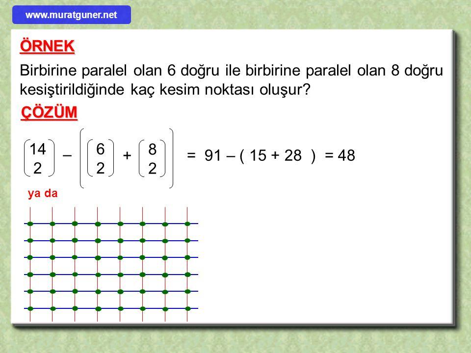 www.muratguner.net ÖRNEK. Birbirine paralel olan 6 doğru ile birbirine paralel olan 8 doğru kesiştirildiğinde kaç kesim noktası oluşur
