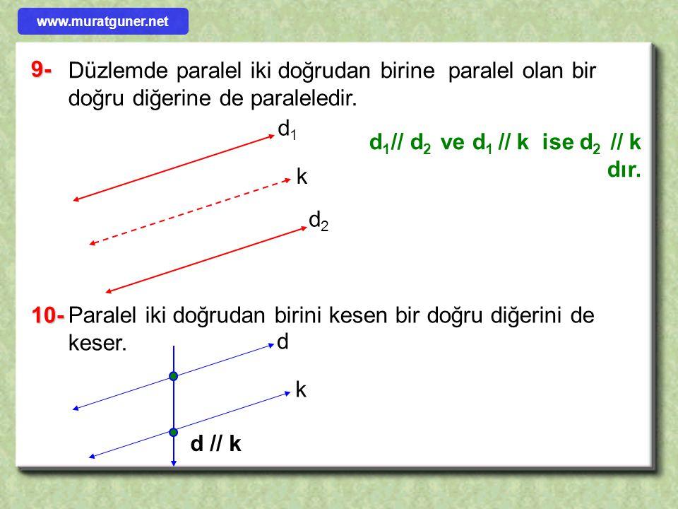 d1// d2 ve d1 // k ise d2 // k dır.