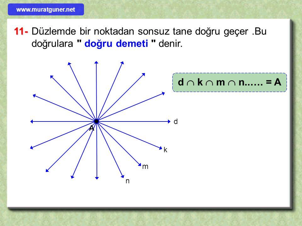 www.muratguner.net 11- Düzlemde bir noktadan sonsuz tane doğru geçer .Bu doğrulara doğru demeti denir.