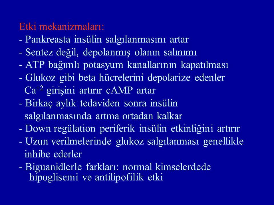 Etki mekanizmaları: - Pankreasta insülin salgılanmasını artar. - Sentez değil, depolanmış olanın salınımı.