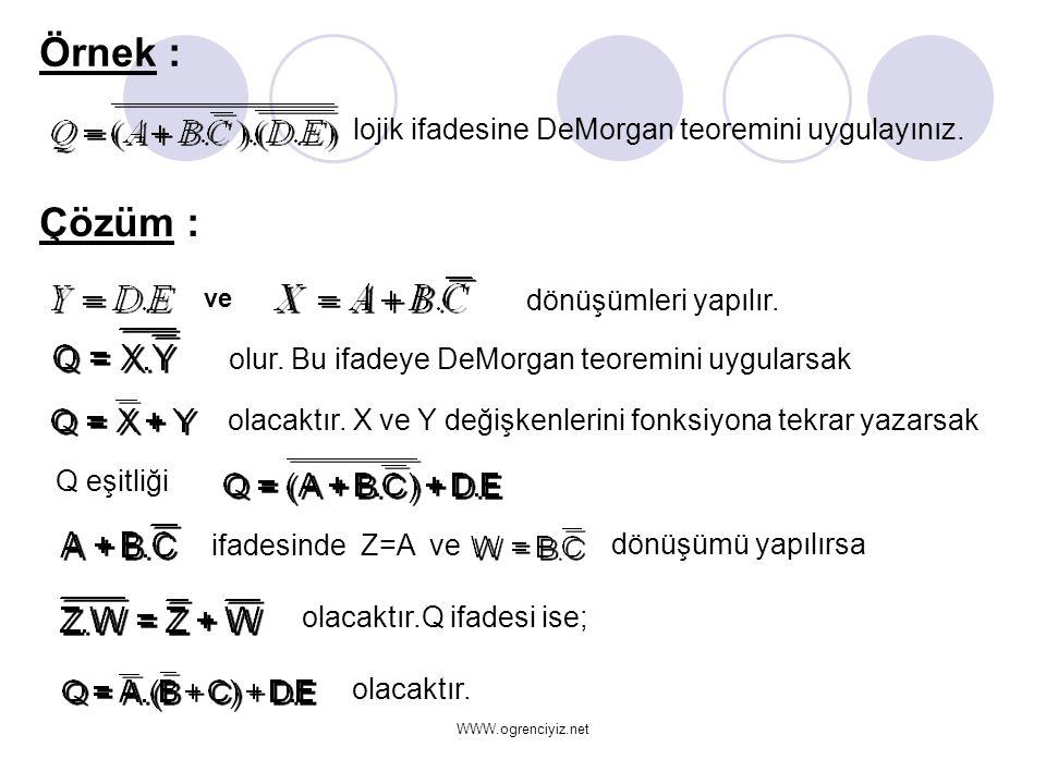 Örnek : Çözüm : lojik ifadesine DeMorgan teoremini uygulayınız.