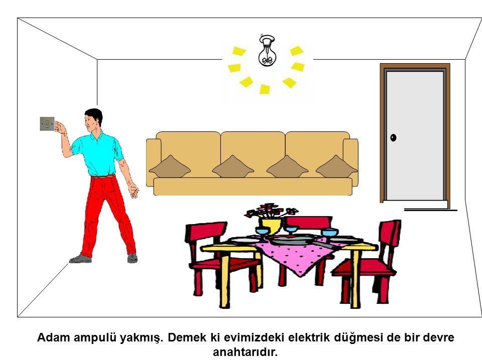 Adam ampulü yakmış. Demek ki evimizdeki elektrik düğmesi de bir devre anahtarıdır.