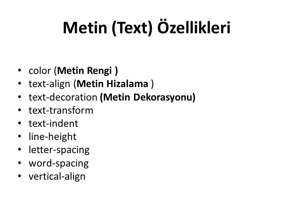 Metin (Text) Özellikleri