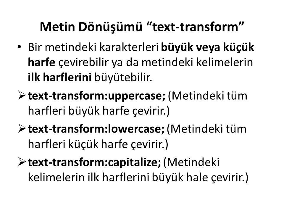 Metin Dönüşümü text-transform