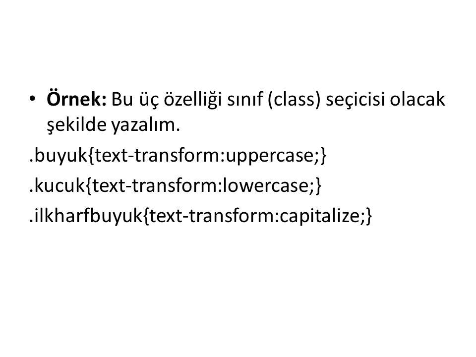 Örnek: Bu üç özelliği sınıf (class) seçicisi olacak şekilde yazalım.