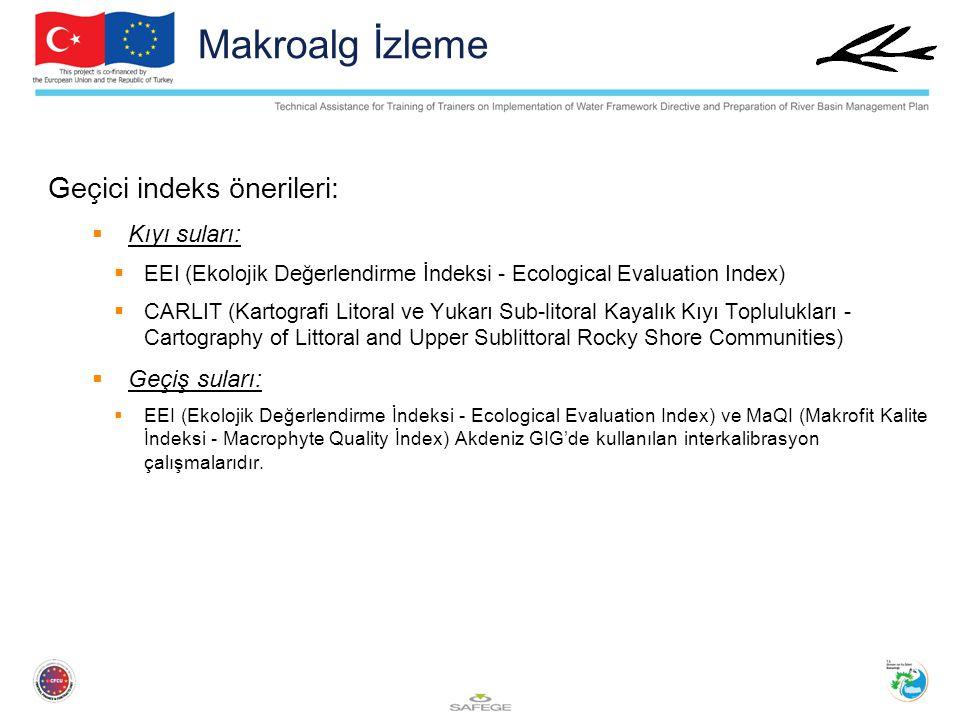 Makroalg İzleme Geçici indeks önerileri: Kıyı suları: Geçiş suları: