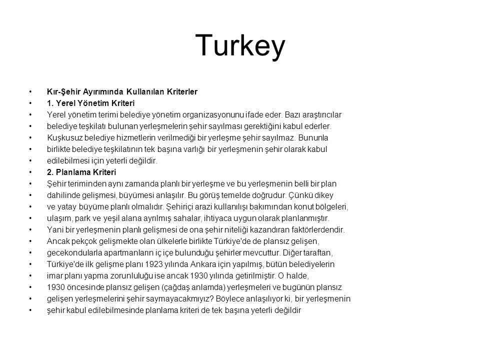 Turkey Kır-Şehir Ayırımında Kullanılan Kriterler