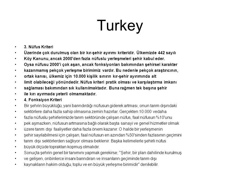 Turkey 3. Nüfus Kriteri. Üzerinde çok durulmuş olan bir kır-şehir ayırımı kriteridir. Ülkemizde 442 sayılı.