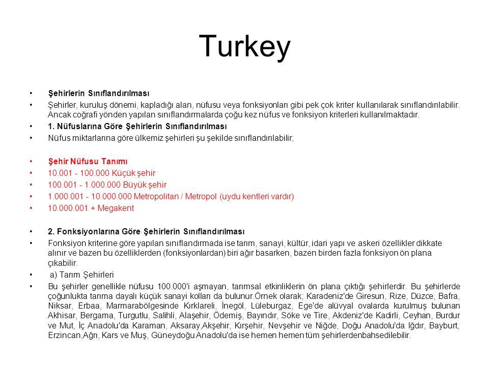 Turkey Şehirlerin Sınıflandırılması