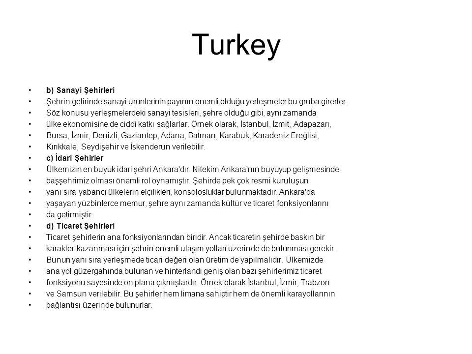 Turkey b) Sanayi Şehirleri
