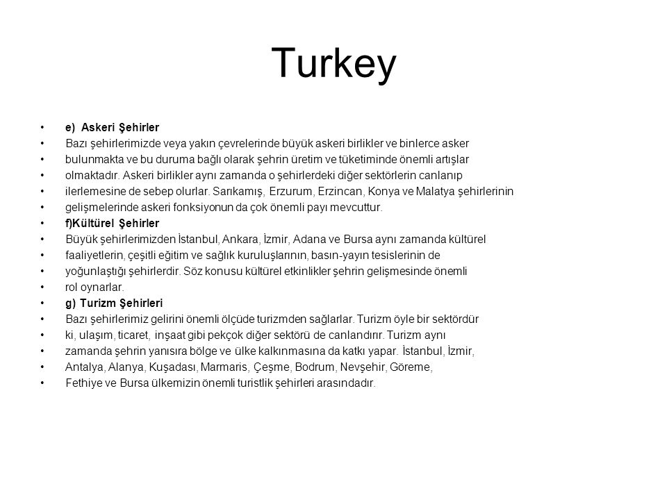 Turkey e) Askeri Şehirler