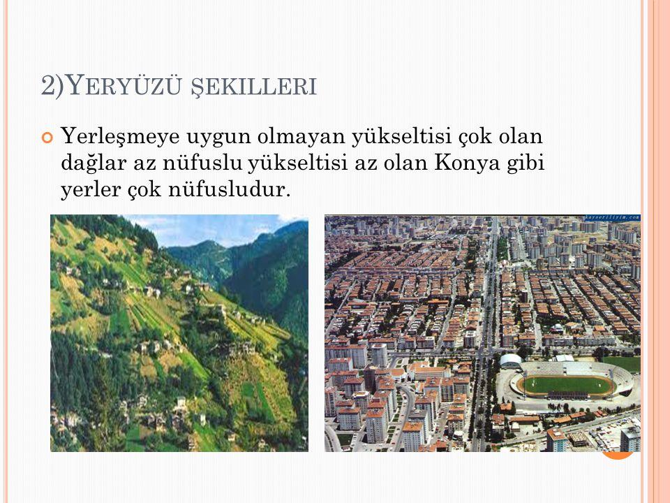 2)Yeryüzü şekilleri Yerleşmeye uygun olmayan yükseltisi çok olan dağlar az nüfuslu yükseltisi az olan Konya gibi yerler çok nüfusludur.