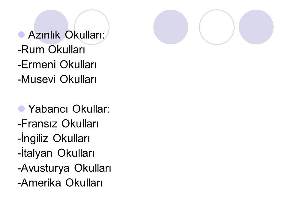 Azınlık Okulları: -Rum Okulları. -Ermeni Okulları. -Musevi Okulları. Yabancı Okullar: -Fransız Okulları.
