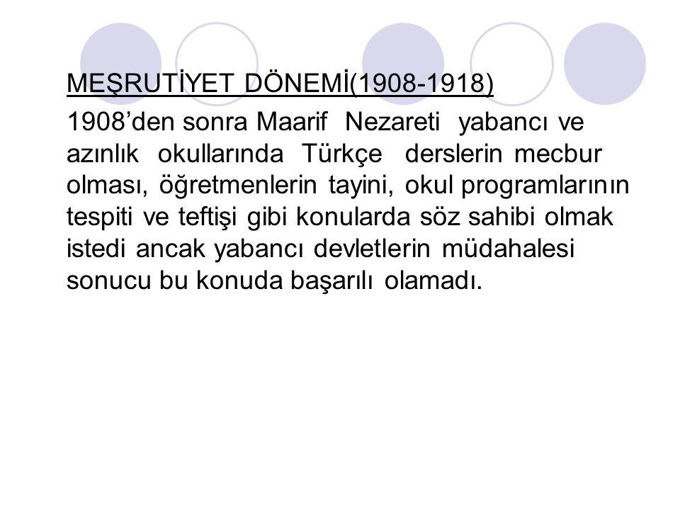 MEŞRUTİYET DÖNEMİ(1908-1918)