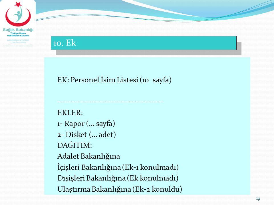 10. Ek EK: Personel İsim Listesi (10 sayfa)