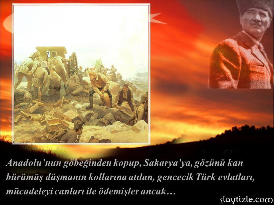 Anadolu'nun göbeğinden kopup, Sakarya'ya, gözünü kan bürümüş düşmanın kollarına atılan, gencecik Türk evlatları, mücadeleyi canları ile ödemişler ancak…