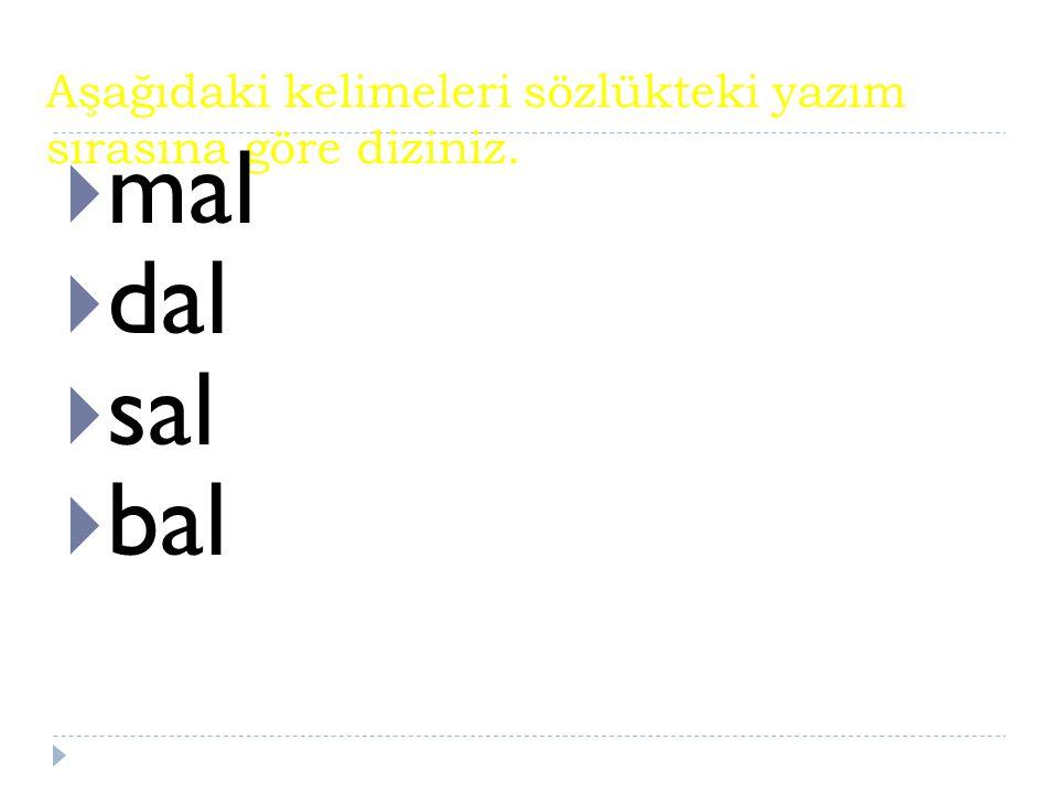 Aşağıdaki kelimeleri sözlükteki yazım sırasına göre diziniz.