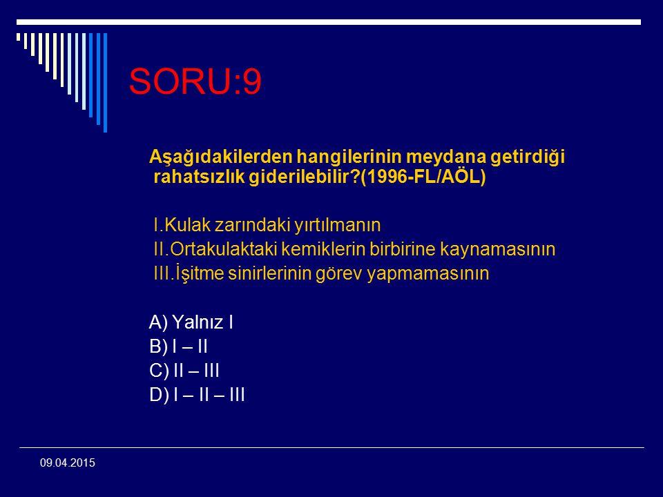 SORU:9 Aşağıdakilerden hangilerinin meydana getirdiği rahatsızlık giderilebilir (1996-FL/AÖL)