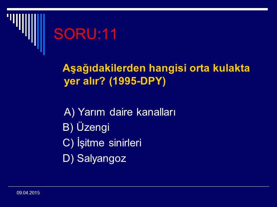 SORU:11 Aşağıdakilerden hangisi orta kulakta yer alır (1995-DPY)