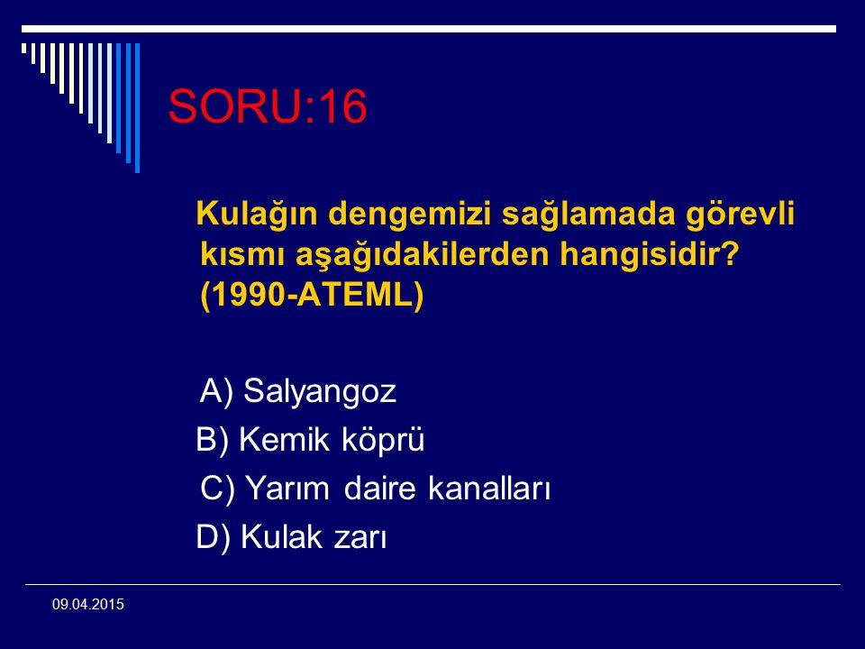 SORU:16 Kulağın dengemizi sağlamada görevli kısmı aşağıdakilerden hangisidir (1990-ATEML) A) Salyangoz.