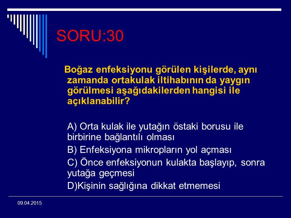 SORU:30 Boğaz enfeksiyonu görülen kişilerde, aynı zamanda ortakulak iltihabının da yaygın görülmesi aşağıdakilerden hangisi ile açıklanabilir