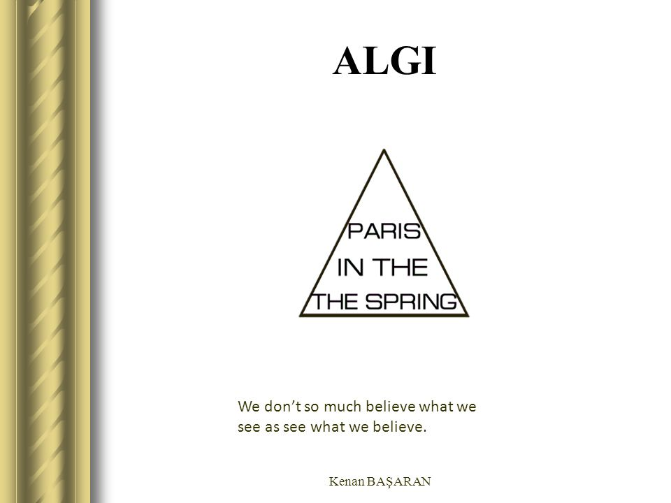 ALGI We don't so much believe what we see as see what we believe.