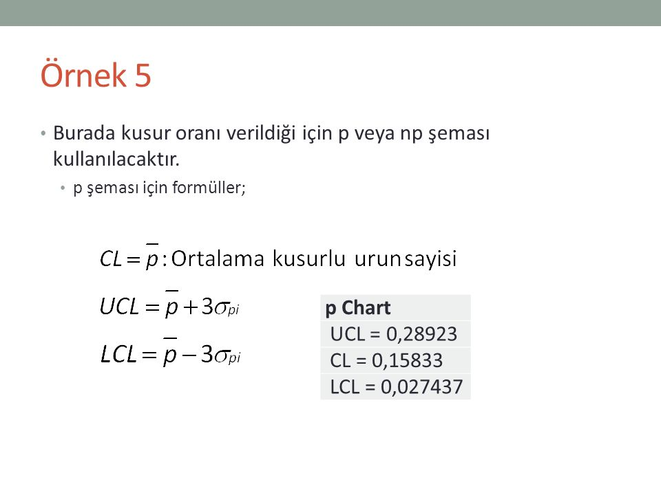 Örnek 5 Burada kusur oranı verildiği için p veya np şeması kullanılacaktır. p şeması için formüller;