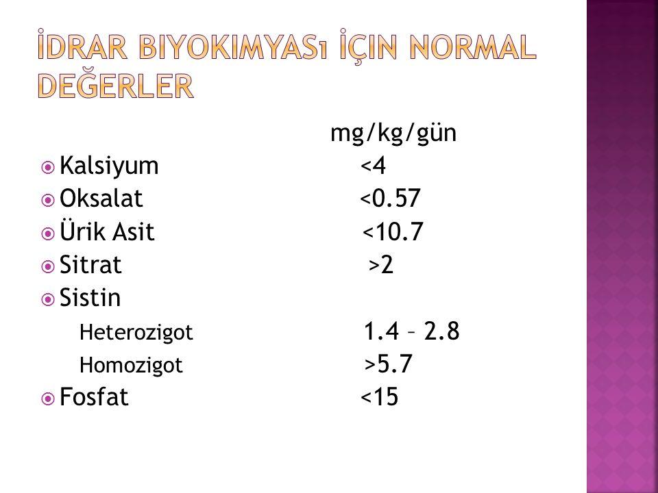 İdrar Biyokimyası İçin Normal Değerler