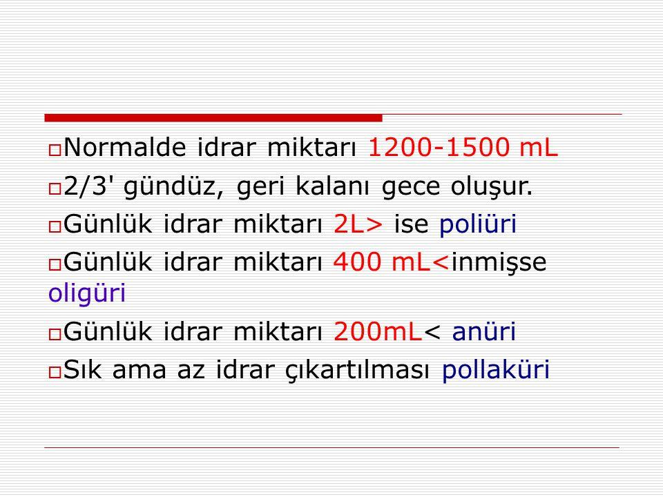 Normalde idrar miktarı 1200-1500 mL