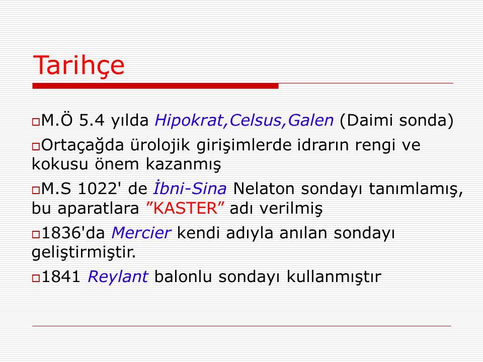 Tarihçe M.Ö 5.4 yılda Hipokrat,Celsus,Galen (Daimi sonda)