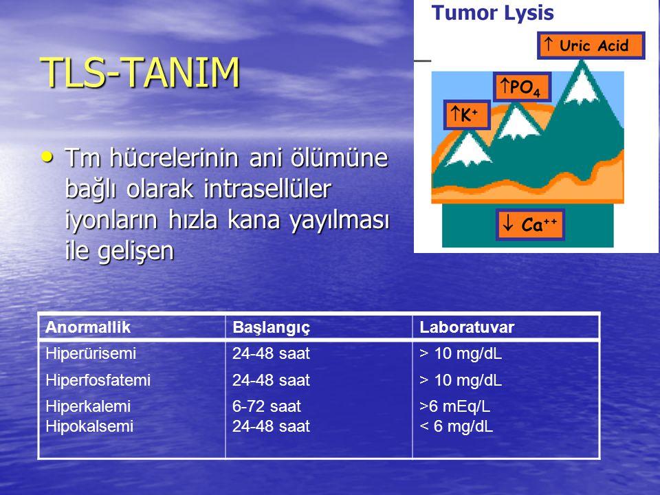 TLS-TANIM Tm hücrelerinin ani ölümüne bağlı olarak intrasellüler iyonların hızla kana yayılması ile gelişen.