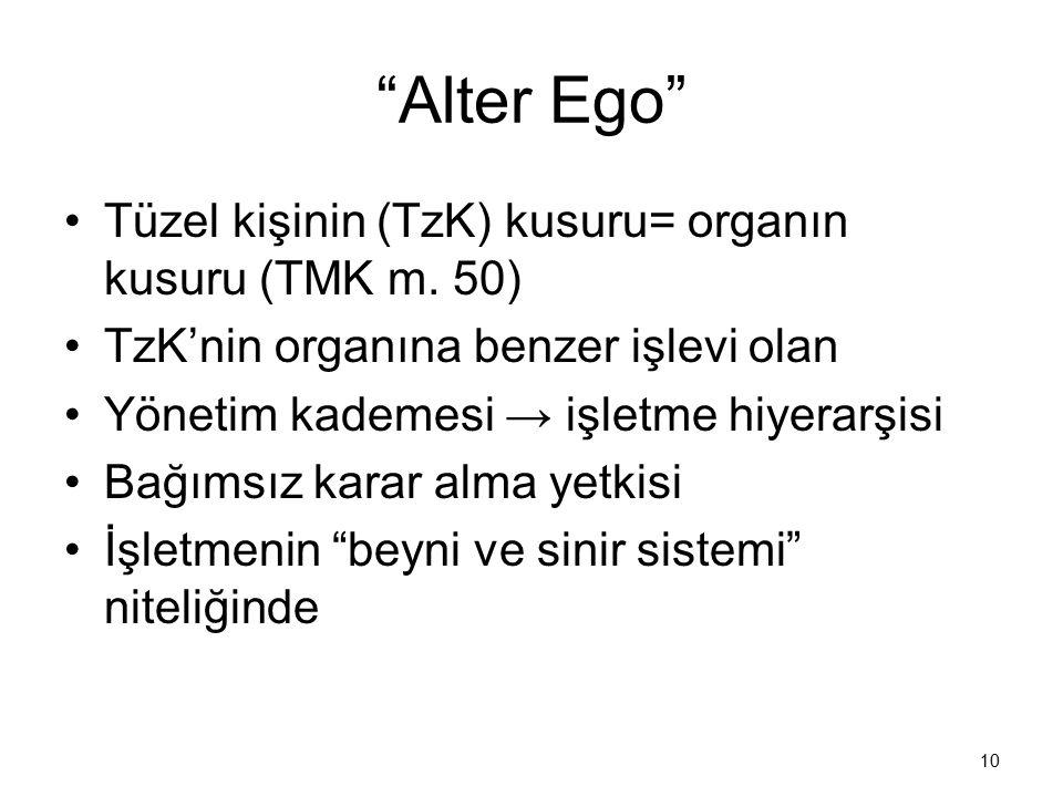 Alter Ego Tüzel kişinin (TzK) kusuru= organın kusuru (TMK m. 50)