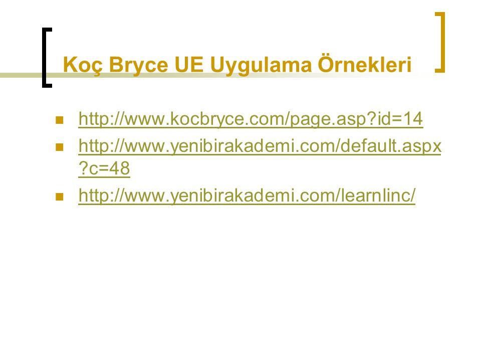 Koç Bryce UE Uygulama Örnekleri
