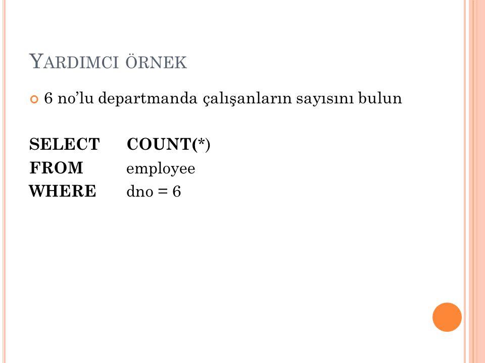 Yardimci örnek 6 no'lu departmanda çalışanların sayısını bulun