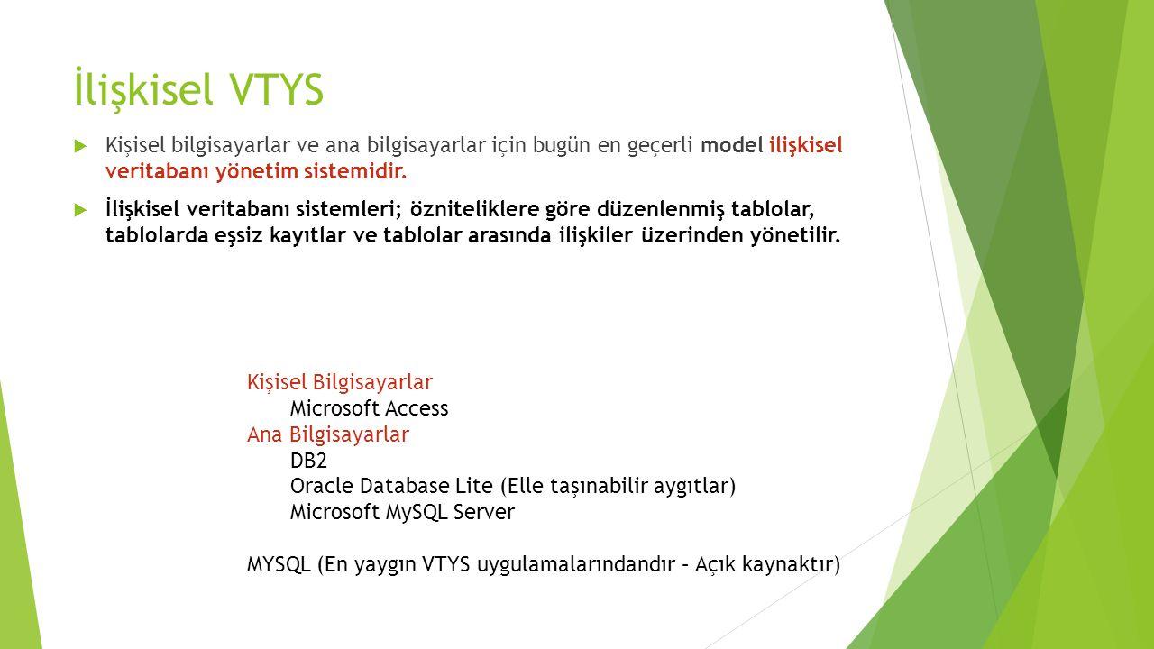 İlişkisel VTYS Kişisel bilgisayarlar ve ana bilgisayarlar için bugün en geçerli model ilişkisel veritabanı yönetim sistemidir.