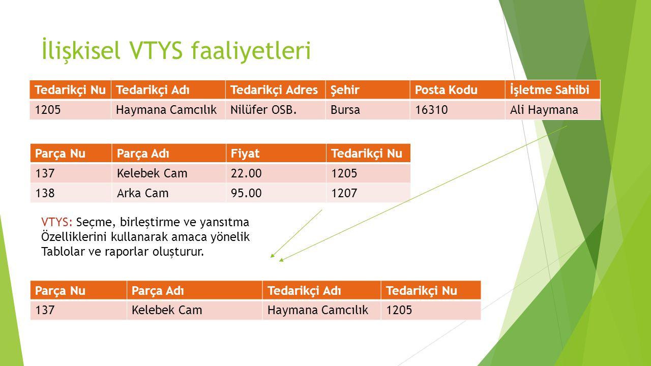 İlişkisel VTYS faaliyetleri