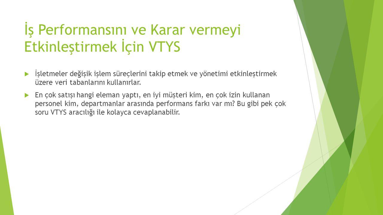 İş Performansını ve Karar vermeyi Etkinleştirmek İçin VTYS
