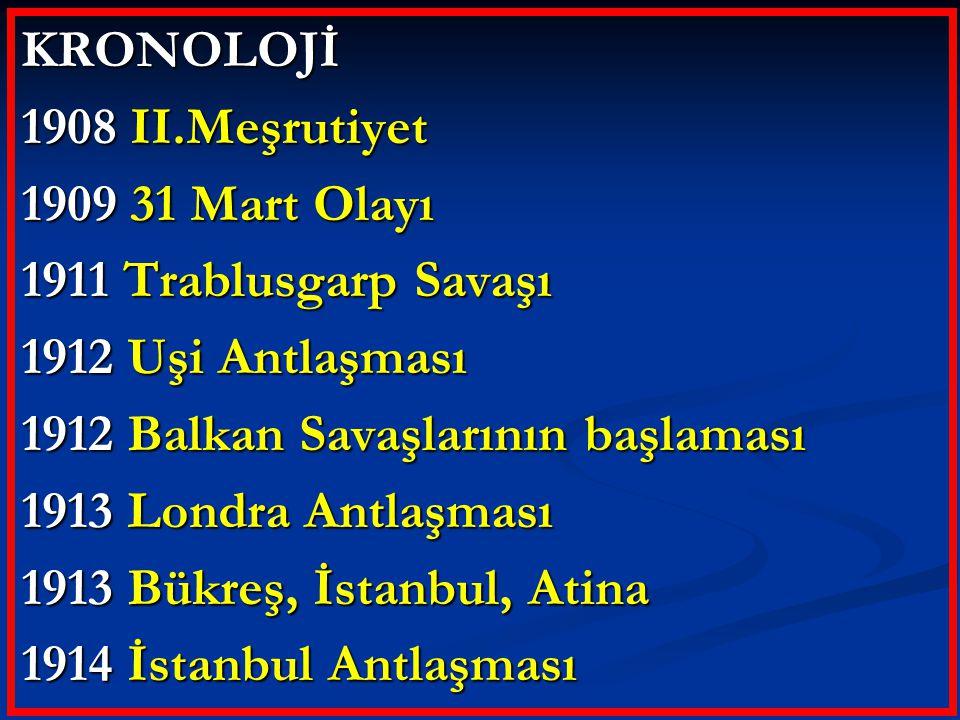 KRONOLOJİ 1908 II.Meşrutiyet. 1909 31 Mart Olayı. 1911 Trablusgarp Savaşı. 1912 Uşi Antlaşması. 1912 Balkan Savaşlarının başlaması.
